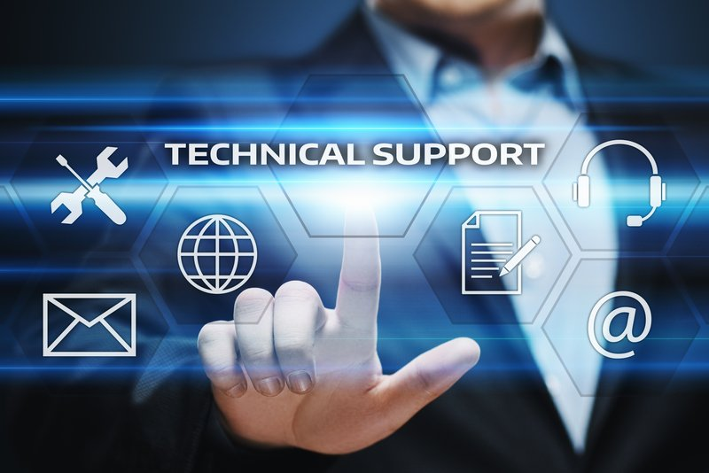 Technical Support icon with man pointing