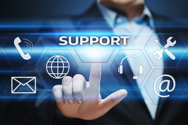 Support icon with man pointing